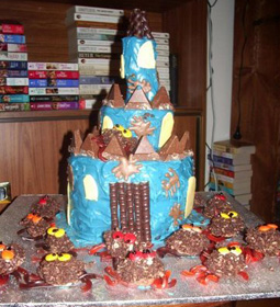 Spooky Castle Cake With Man Eating Chocolate Crackle Spiders This Pre Dates My Icing Skeleton Phase